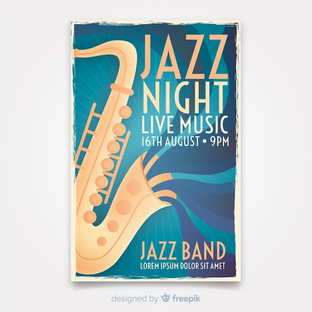 Jazz retro music poster template with saxophone Free Vector