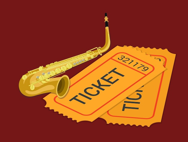Jazz sax sassofono concerto musica spettacolo partecipazione biglietto prenotazione isometrica piatta Vettore gratuito