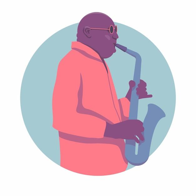 Джазовый саксофонист. для джазового плаката. Premium векторы