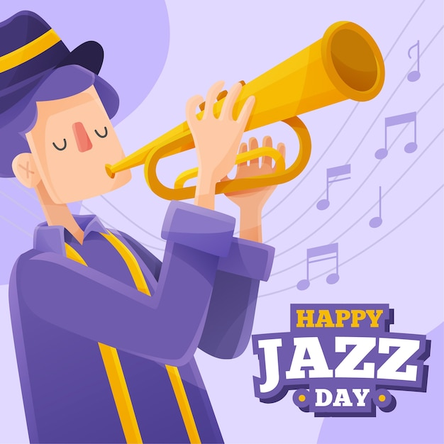 Jazz the soul music and man with trumpet Free Vector