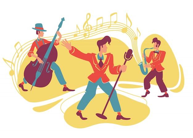 Jazz swing show   web banner, poster. Premium Vector