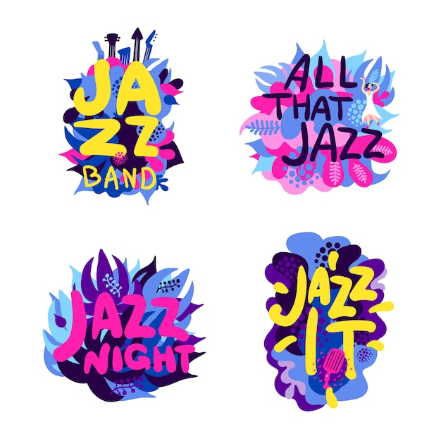 Jazz theme composition set Free Vector