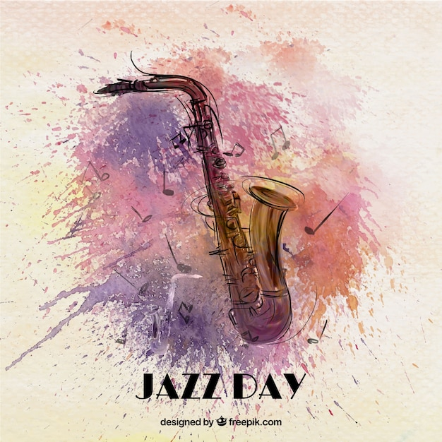 Jazz watercolor background with saxophone Free Vector