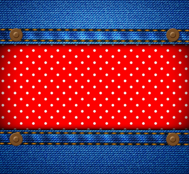 Jeans frame with polka dot patch Premium Vector