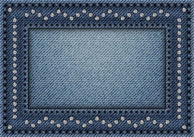 Jeans frame with sequin ornament Premium Vector