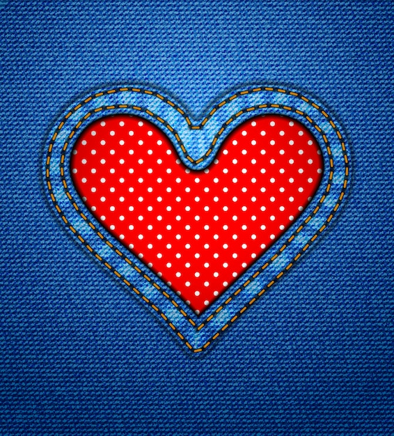 Jeans heart frame with polka dots Premium Vector