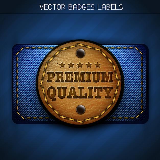 Jeans leather label Premium Vector