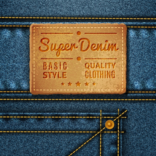 Jeans leather square tag Free Vector