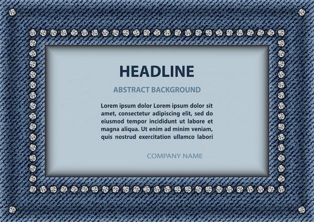 Jeans rectangle frame Premium Vector