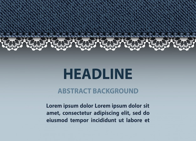 Jeans stripe and lace Premium Vector