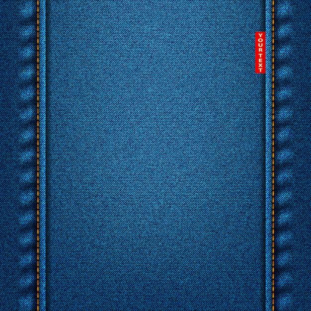 Jeans texture blue color. denim Premium Vector