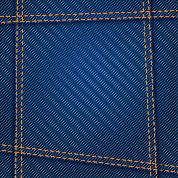Jeans texture seam Premium Vector