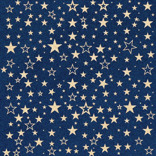 Jeans texture with stars Premium Vector