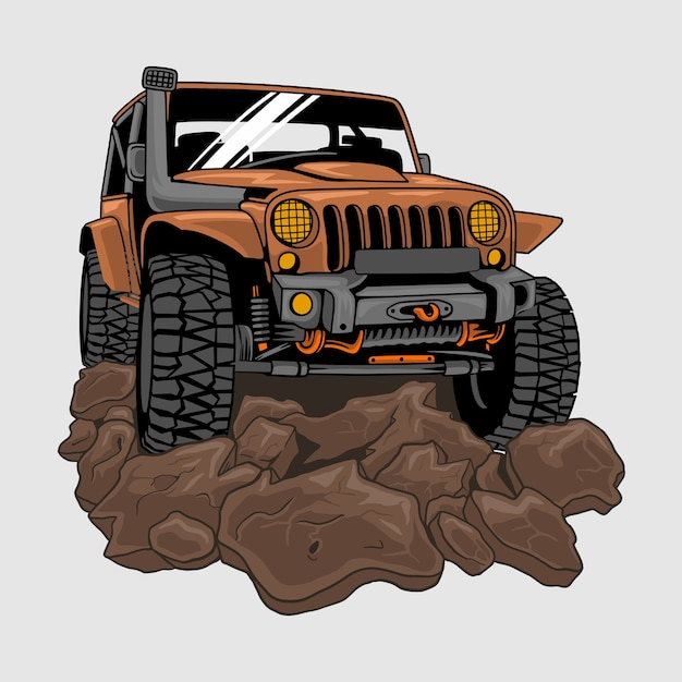 Jeep offroad drive on dirt or mud,illustration Premium Vector