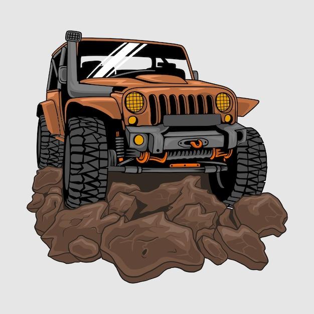 Джип внедорожник по грязи или грязи, иллюстрация Premium векторы