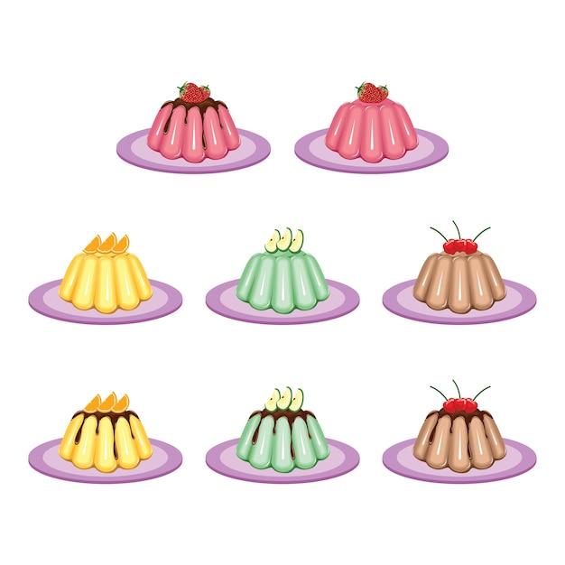 Jelly gelatine pudding sweet fruit dessert colorful set Premium Vector