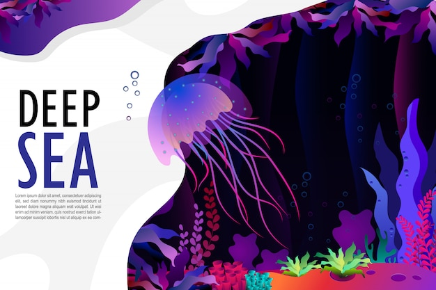Jellyfish and coral under the sea Premium Vector