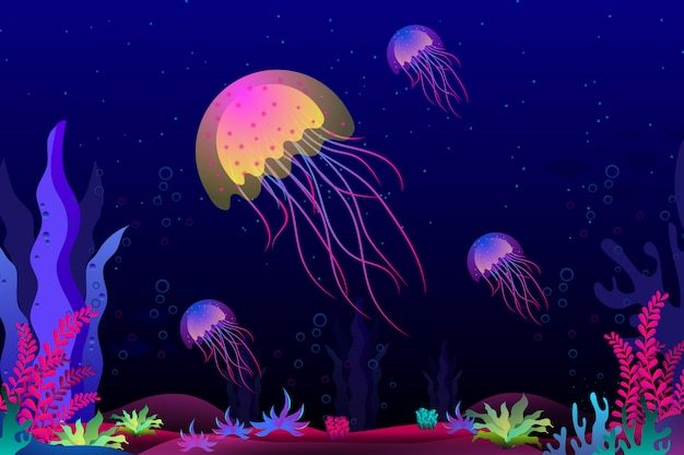 Jellyfish with beautiful coral under the sea illustration Premium Vector