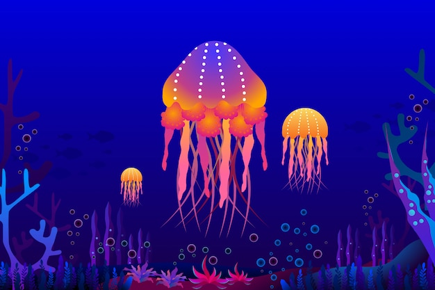Jellyfish with beautiful coral under the sea illustration. Premium Vector