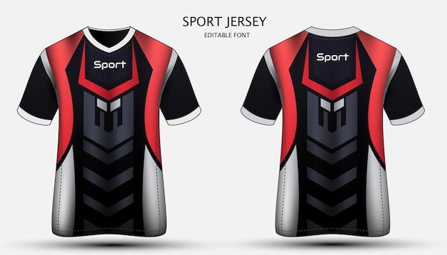 저지 템플릿 스포츠 T 셔츠 디자인 프리미엄 벡터