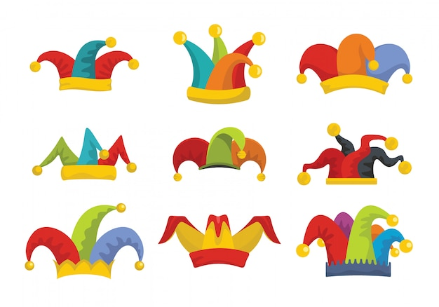 Jester fools hat icons set flat style Premium Vector