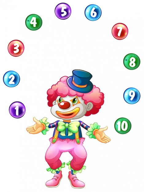 Jester juggling balls with numbers Free Vector