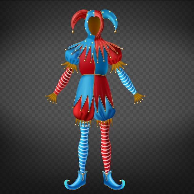 Jester red and blue costume with bells on horned hat, striped leggings and twisted toe shoes Free Vector