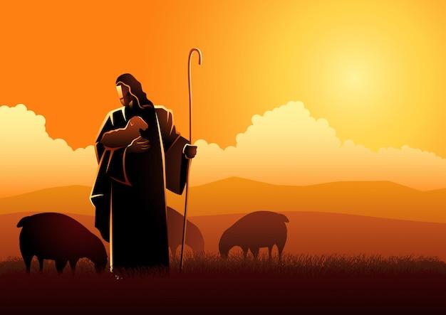 Jesus as a shepherd Premium Vector