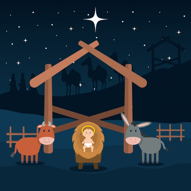 Jesus baby in stable with mule and ox Premium Vector