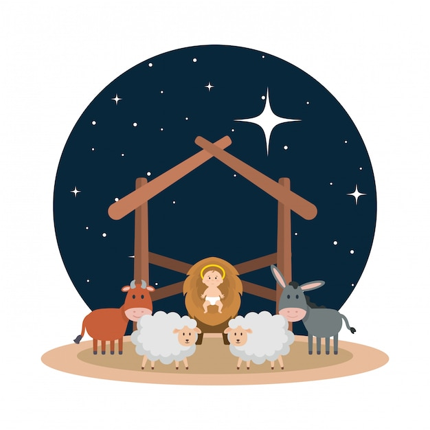 Jesus baby in stable with sheeps and animals Premium Vector