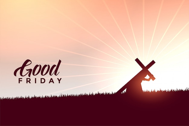 Jesus christ carrying cross good friday wishes background Free Vector