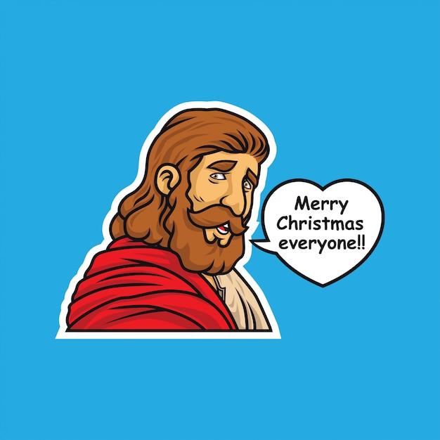 Jesus christ merry christmas illustration sticker Premium Vector