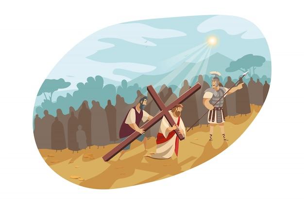 십자가의 길에 예수 그리스도, 성경 개념 프리미엄 벡터