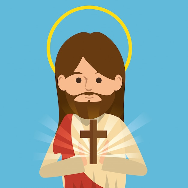 Jesus christ religious character Free Vector