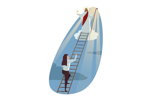 Иисус христос, сын бога, мессия, ведущий молодую счастливую бизнес-леди, поднимающуюся по лестнице Premium векторы