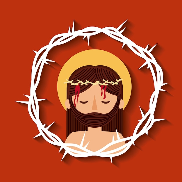 Premium Vector Jesus Christ With Crown Thorns Sacred Image As a largesse for your promises, i will bestow you. https www freepik com profile preagreement getstarted 1876595