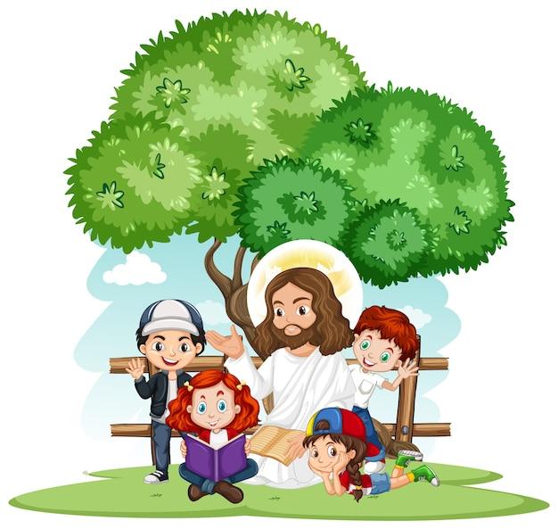 Gesù che predica a un personaggio dei cartoni animati di un gruppo di bambini Vettore gratuito