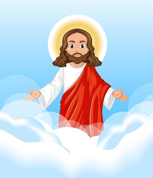 Иисус проповедует в положении стоя на фоне неба Бесплатные векторы