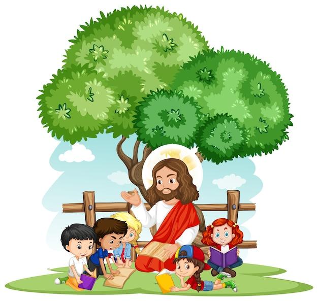 Иисус проповедует мультипликационный персонаж группы детей Бесплатные векторы