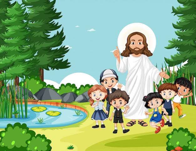 Gesù con i bambini nel parco Vettore gratuito