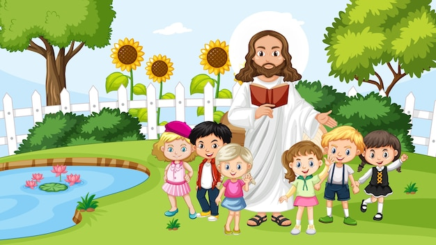 Jesus with children in the park Free Vector