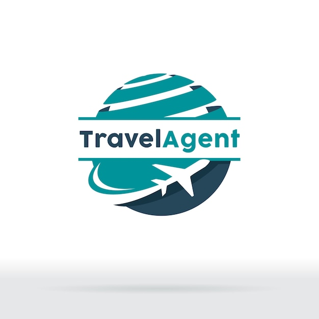 Jet aircraft with globe symbol for travel agency, tour company, air ticket agency. Premium Vector