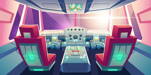 Jet cockpit empty airplane cabin interior illustration Free Vector