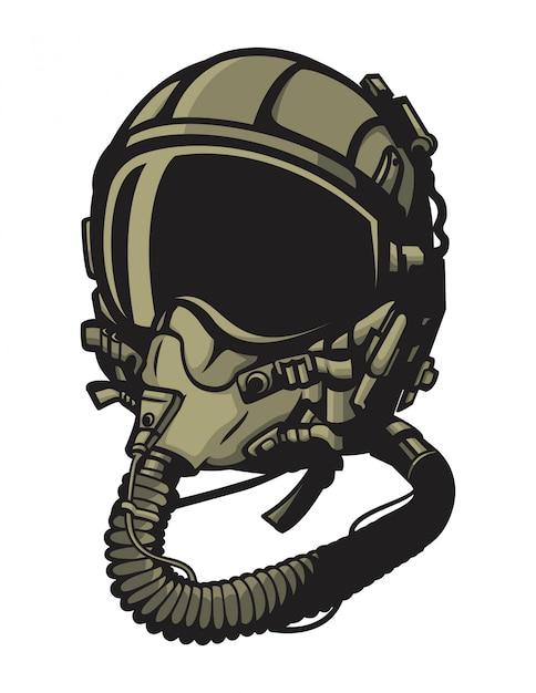 Jet pilot helmet vector Premium Vector