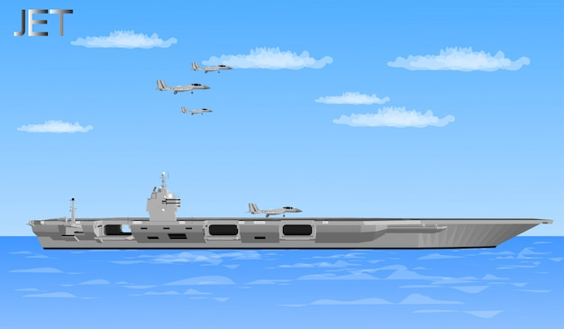 Jet planes and warships for soldiers Premium Vector