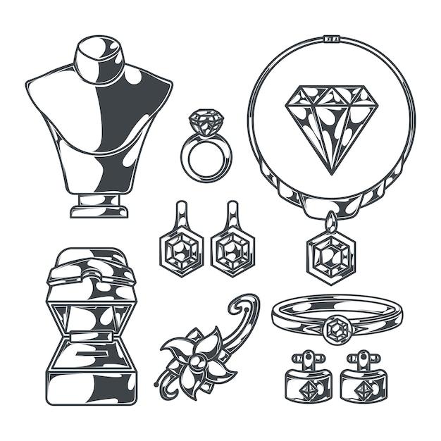 Set di gioielliere di immagini monocromatiche isolate con manichini a forma di corpo umano con anelli di gioielli e diamanti Vettore gratuito