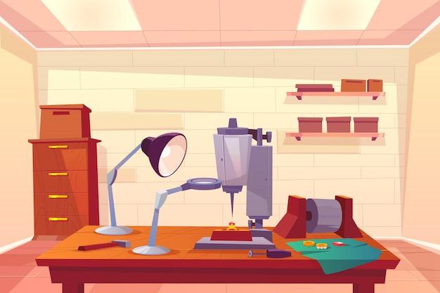 Jeweler workshop, jewelry repair shop cartoon Free Vector
