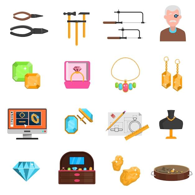 Jeweller icons set Free Vector