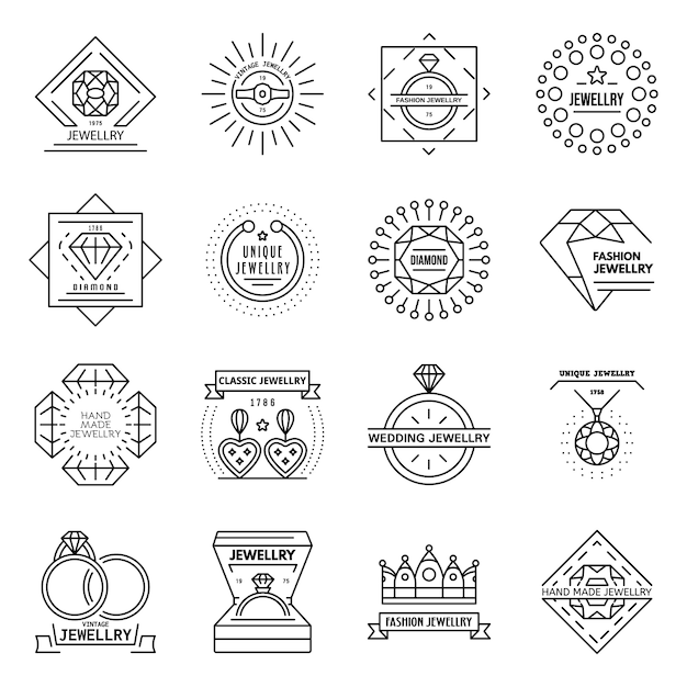 Jewellery icon set. outline set of jewellery vector icons Premium Vector
