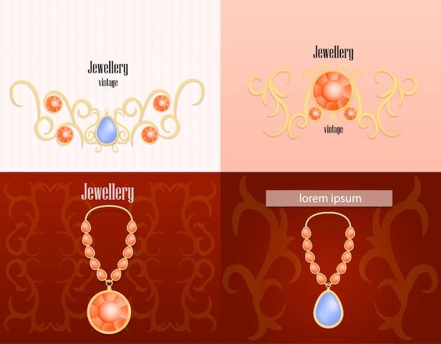 Jewellery woman luxury banner concept set Premium Vector